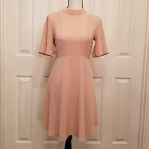 H&M sz6 light pink high neck open back dress